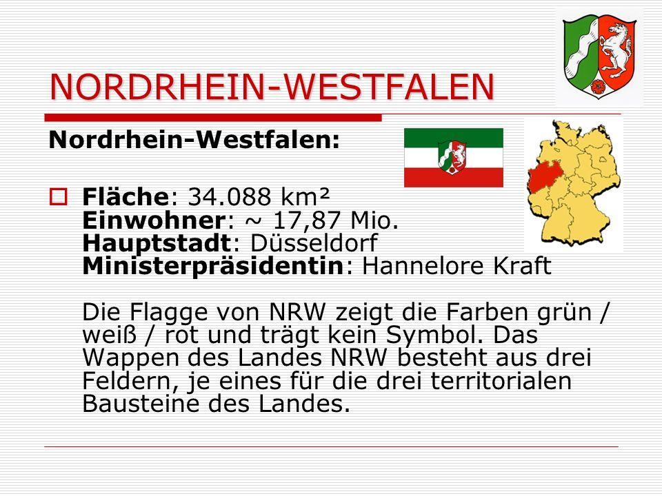 NORDRHEIN-WESTFALEN Nordrhein-Westfalen: Fläche: 34.088 km² Einwohner: ~ 17,87 Mio.