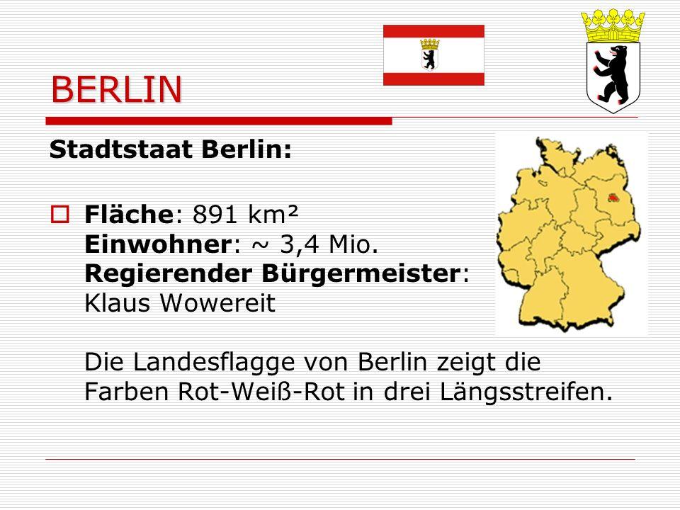 BERLIN Stadtstaat Berlin: Fläche: 891 km² Einwohner: ~ 3,4 Mio.