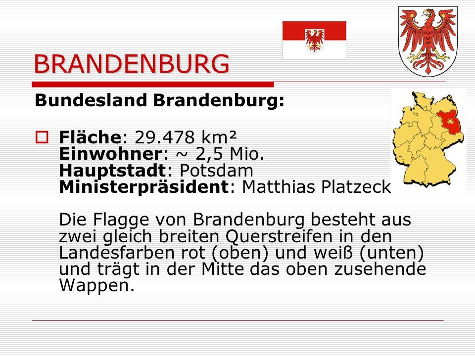 BRANDENBURG Bundesland Brandenburg: Fläche: 29.478 km² Einwohner: ~ 2,5 Mio.