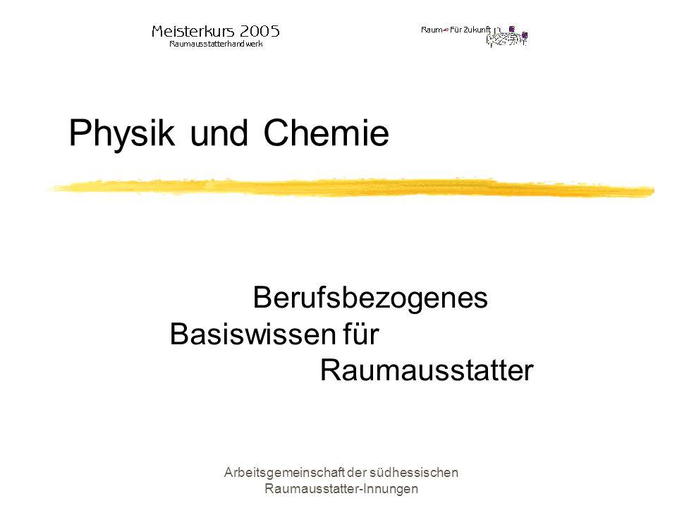 Arbeitsgemeinschaft der südhessischen Raumausstatter-Innungen Definition der Begriffe Physik Wissenschaft von der Suche nach den Gesetzmäßigkeiten der natürlichen Abläufe bzw.