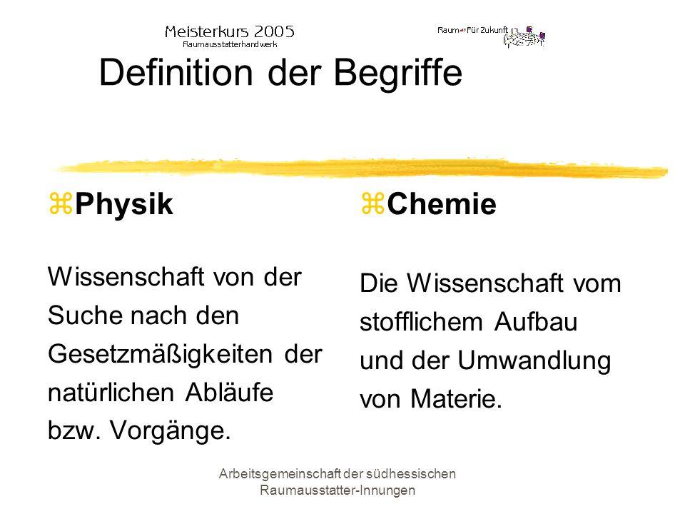 Arbeitsgemeinschaft der südhessischen Raumausstatter-Innungen Definition der Begriffe Physik Wissenschaft von der Suche nach den Gesetzmäßigkeiten der