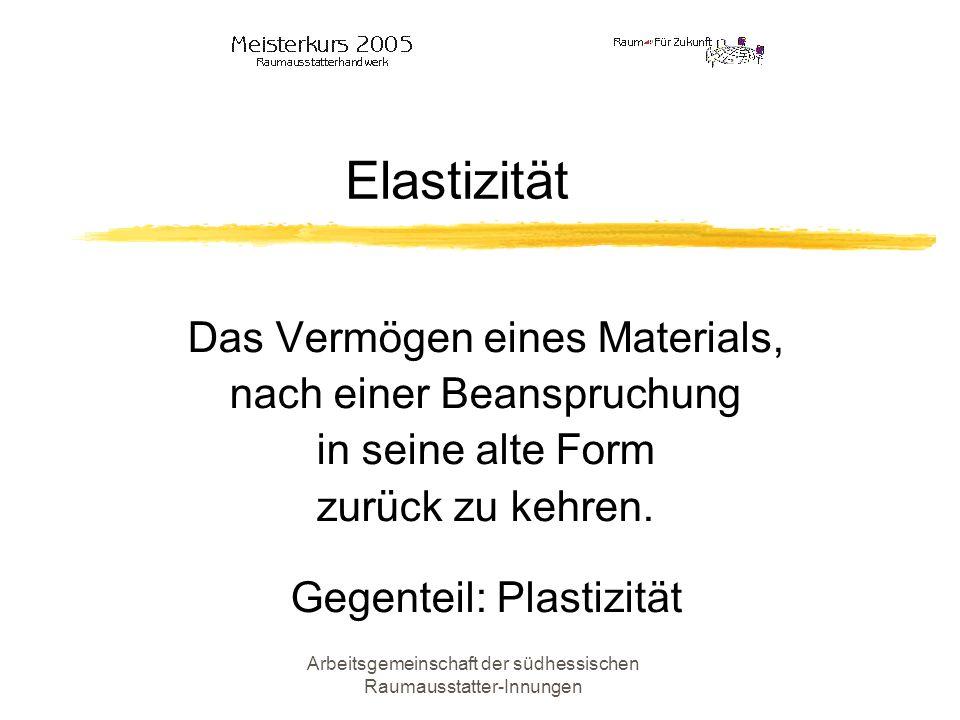 Arbeitsgemeinschaft der südhessischen Raumausstatter-Innungen Elastizität Das Vermögen eines Materials, nach einer Beanspruchung in seine alte Form zu