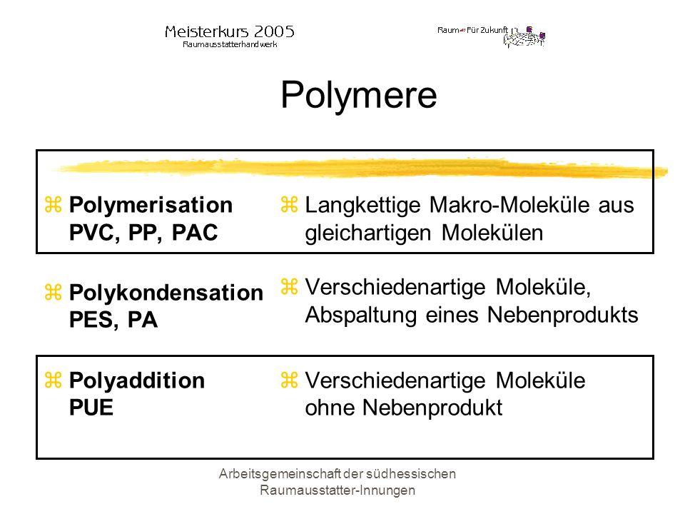 Arbeitsgemeinschaft der südhessischen Raumausstatter-Innungen Polymere Polymerisation PVC, PP, PAC Polykondensation PES, PA Polyaddition PUE Langketti