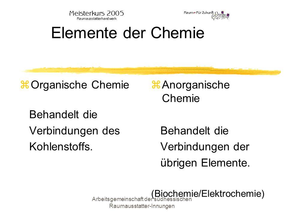 Arbeitsgemeinschaft der südhessischen Raumausstatter-Innungen Elemente der Chemie Organische Chemie Behandelt die Verbindungen des Kohlenstoffs. Anorg