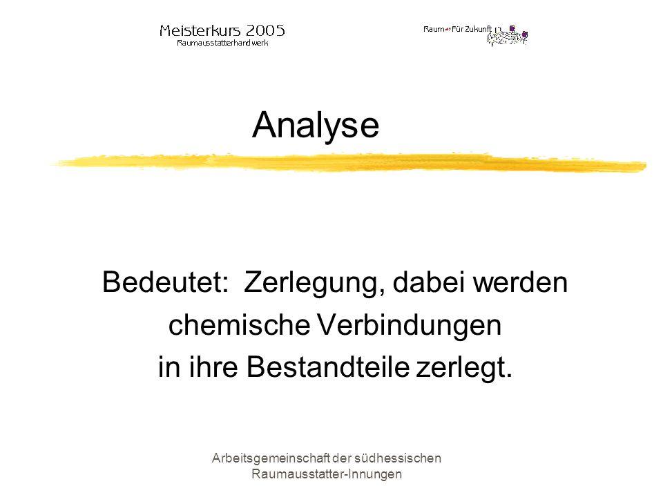 Arbeitsgemeinschaft der südhessischen Raumausstatter-Innungen Kohäsion Bedeutet: Zusammenhangskraft Der Abstand zwischen den Molekülen eines Materials.