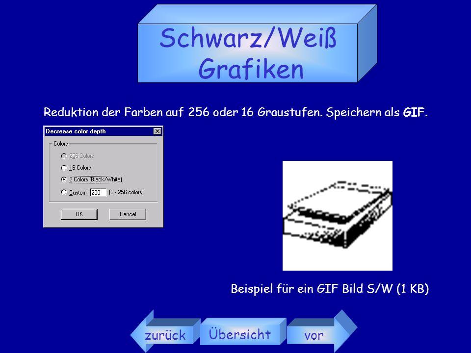zurück Übersicht vor Farbige Grafiken Reduktion der Farben auf 256 (8 Bit) oder 16 (4 Bit). Speichern als GIF. (Format unterstützt max. 256 Farben. Ko