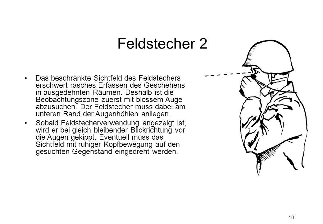 10 Das beschränkte Sichtfeld des Feldstechers erschwert rasches Erfassen des Geschehens in ausgedehnten Räumen.