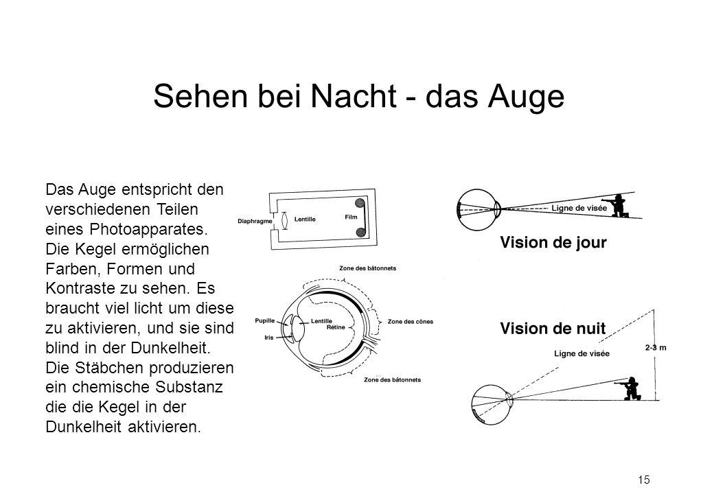 15 Sehen bei Nacht - das Auge Das Auge entspricht den verschiedenen Teilen eines Photoapparates. Die Kegel ermöglichen Farben, Formen und Kontraste zu