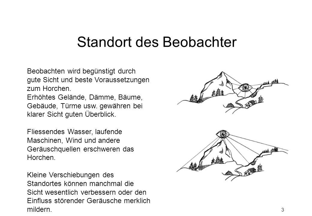 3 Standort des Beobachter Beobachten wird begünstigt durch gute Sicht und beste Voraussetzungen zum Horchen. Erhöhtes Gelände, Dämme, Bäume, Gebäude,