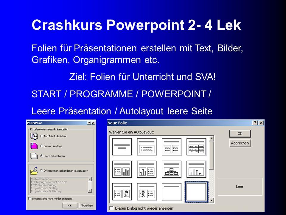 Folien für Präsentationen erstellen mit Text, Bilder, Grafiken, Organigrammen etc. Ziel: Folien für Unterricht und SVA! START / PROGRAMME / POWERPOINT