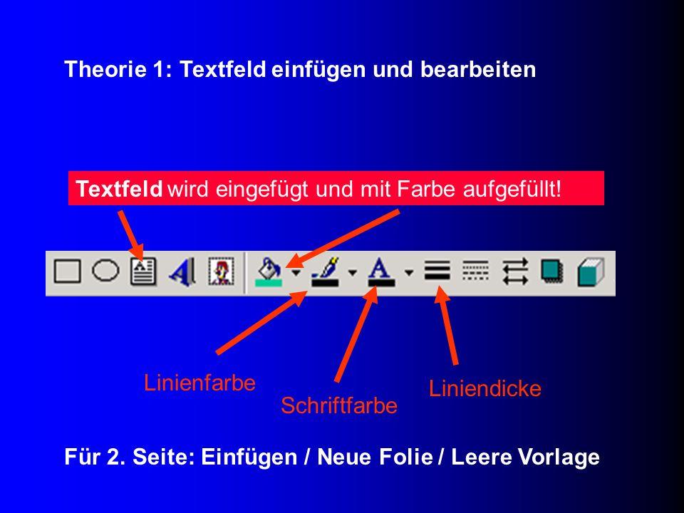Textfeld wird eingefügt und mit Farbe aufgefüllt! Schriftfarbe Liniendicke Linienfarbe Für 2. Seite: Einfügen / Neue Folie / Leere Vorlage Theorie 1: