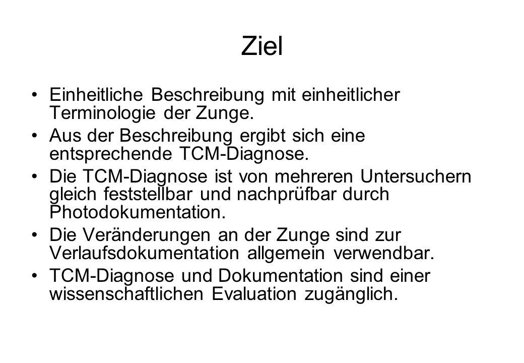 Ziel Einheitliche Beschreibung mit einheitlicher Terminologie der Zunge. Aus der Beschreibung ergibt sich eine entsprechende TCM-Diagnose. Die TCM-Dia