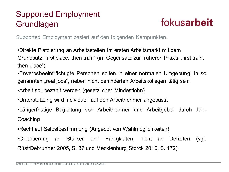 «Austausch- und Vernetzungstreffen» Referat fokusarbeit, Angelika Künzle Supported Employment Grundlagen Direkte Platzierung an Arbeitsstellen im erst