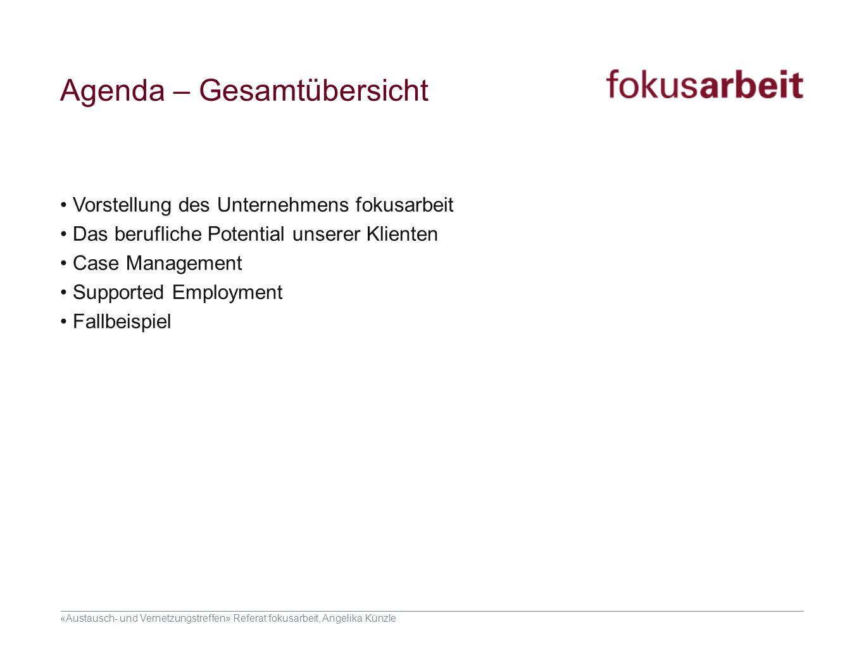 «Austausch- und Vernetzungstreffen» Referat fokusarbeit, Angelika Künzle Agenda – Gesamtübersicht Vorstellung des Unternehmens fokusarbeit Das berufli