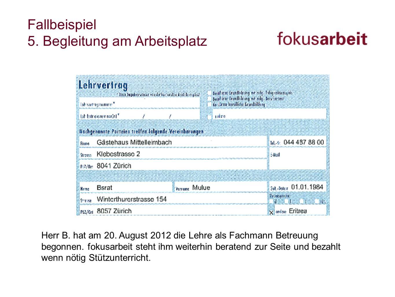 Fallbeispiel 5. Begleitung am Arbeitsplatz Herr B. hat am 20. August 2012 die Lehre als Fachmann Betreuung begonnen. fokusarbeit steht ihm weiterhin b