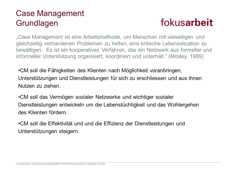 «Austausch- und Vernetzungstreffen» Referat fokusarbeit, Angelika Künzle Case Management Grundlagen CM soll die Fähigkeiten des Klienten nach Möglichk