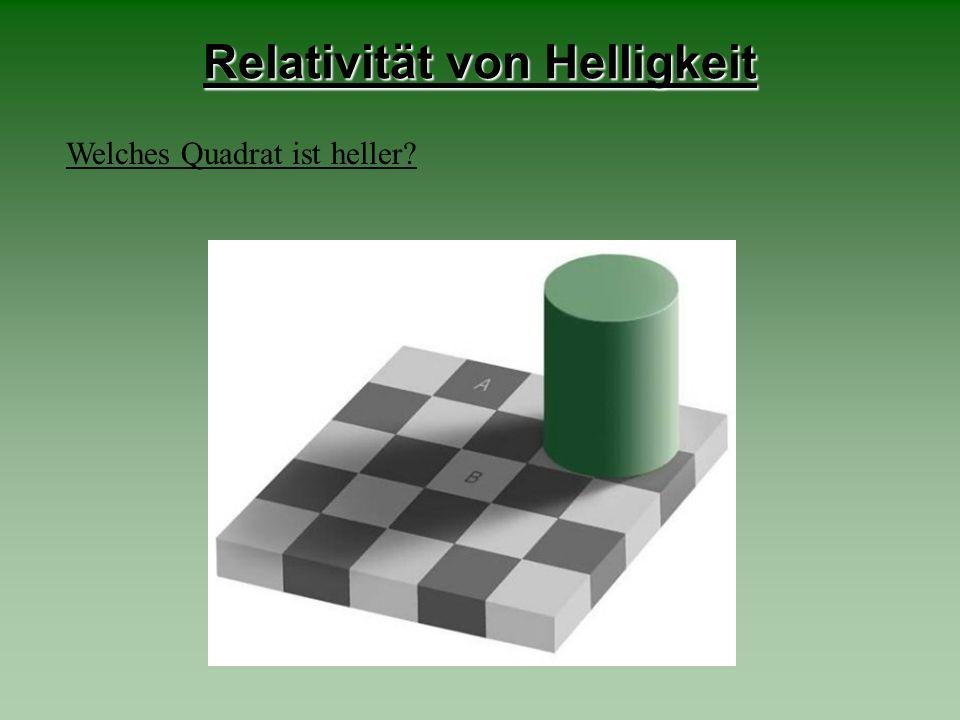 Relativität von Helligkeit Welches Quadrat ist heller?