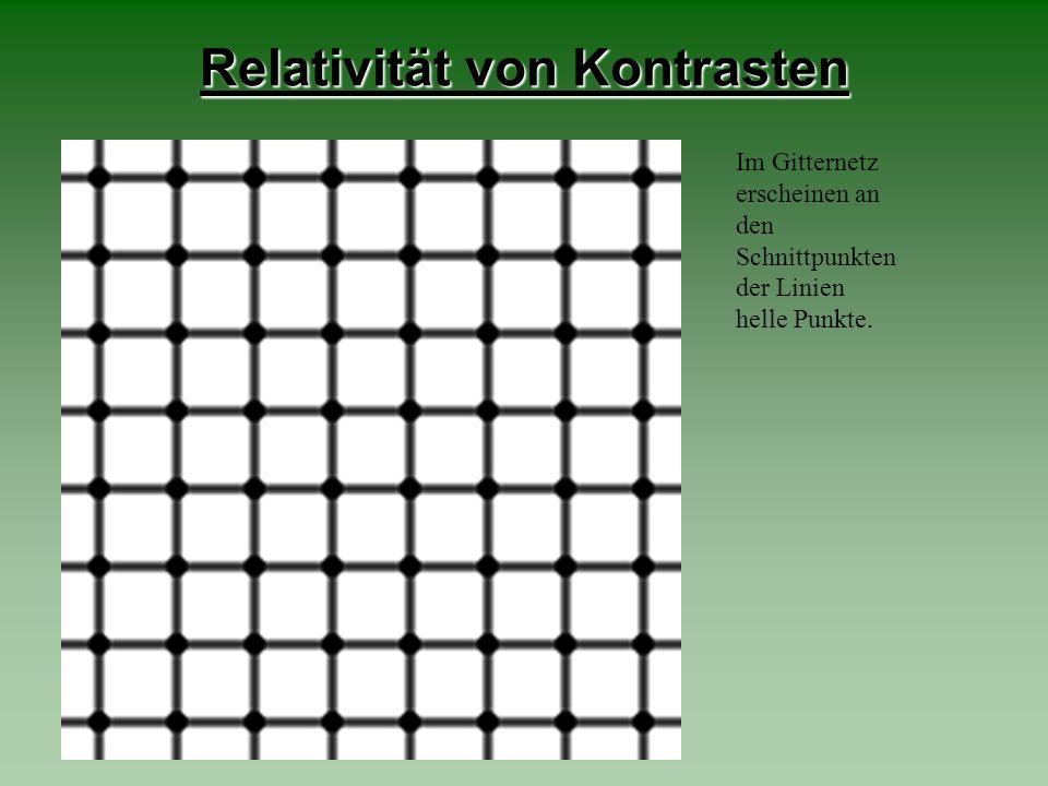 Relativität von Kontrasten Im Gitternetz erscheinen an den Schnittpunkten der Linien helle Punkte.