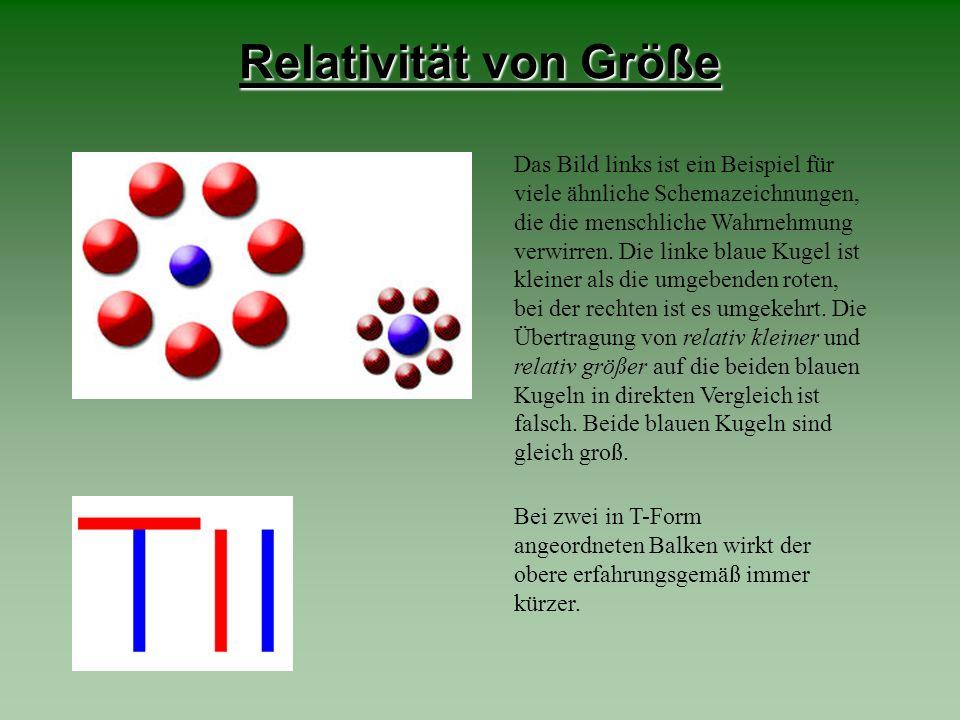 Relativität von Größe Das Bild links ist ein Beispiel für viele ähnliche Schemazeichnungen, die die menschliche Wahrnehmung verwirren. Die linke blaue