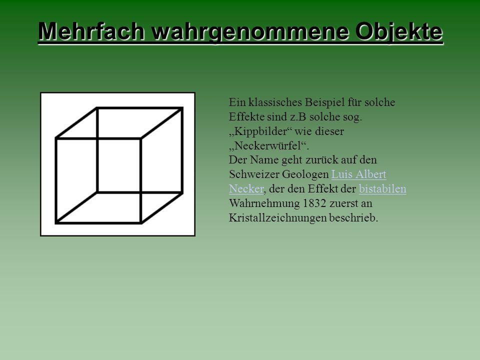 Mehrfach wahrgenommene Objekte Ein klassisches Beispiel für solche Effekte sind z.B solche sog. Kippbilder wie dieser Neckerwürfel. Der Name geht zurü