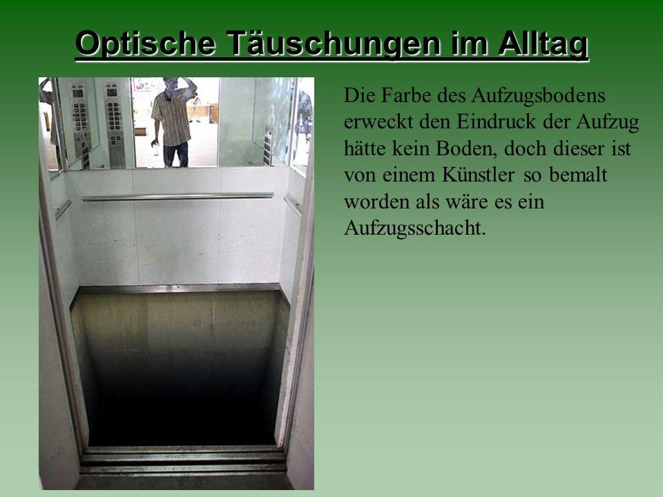 Optische Täuschungen im Alltag Die Farbe des Aufzugsbodens erweckt den Eindruck der Aufzug hätte kein Boden, doch dieser ist von einem Künstler so bem