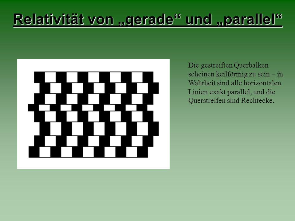 Die gestreiften Querbalken scheinen keilförmig zu sein – in Wahrheit sind alle horizontalen Linien exakt parallel, und die Querstreifen sind Rechtecke