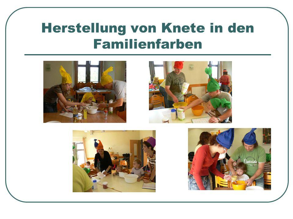 Herstellung von Knete in den Familienfarben