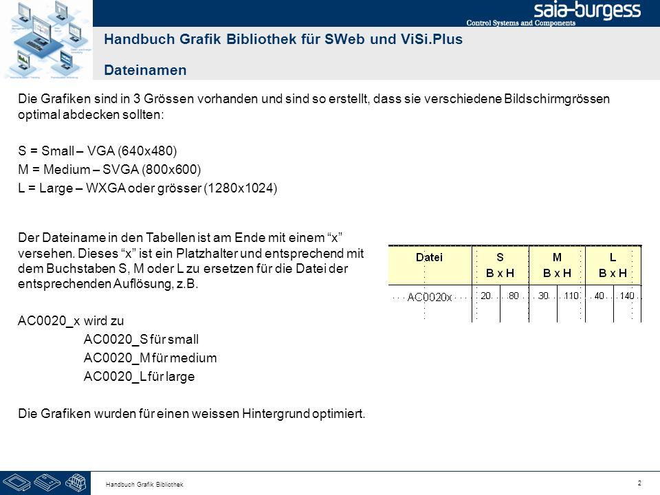 13 Handbuch Grafik Bibliothek Handbuch Grafik Bibliothek für SWeb und ViSi.Plus Ventile BezeichnungGrafikDateiS B x H M B x H L B x H 2-Wege neutralAC0201_x – AC0204_x 202530405065 2-Wege (M)otorAC0211_x – AC0214_x 202530405065 3-Wege neutralAC0221_x – AC0224_x 2030 455075 3-Wege (M)otorAC0231_x – AC0234_x 2030 455075