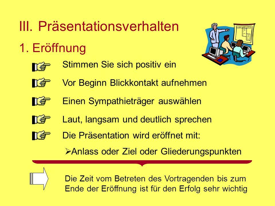 III.Präsentationsverhalten 1.