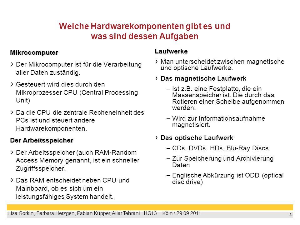 3 Lisa Gorkin, Barbara Herzgen, Fabian Küpper, Ailar Tehrani HG13 Köln / 29.09.2011 Welche Hardwarekomponenten gibt es und was sind dessen Aufgaben Mi