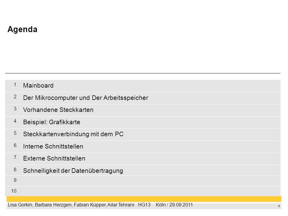 1 Lisa Gorkin, Barbara Herzgen, Fabian Küpper, Ailar Tehrani HG13 Köln / 29.09.2011 1. Mainboard 2. Der Mikrocomputer und Der Arbeitsspeicher 3. Vorha