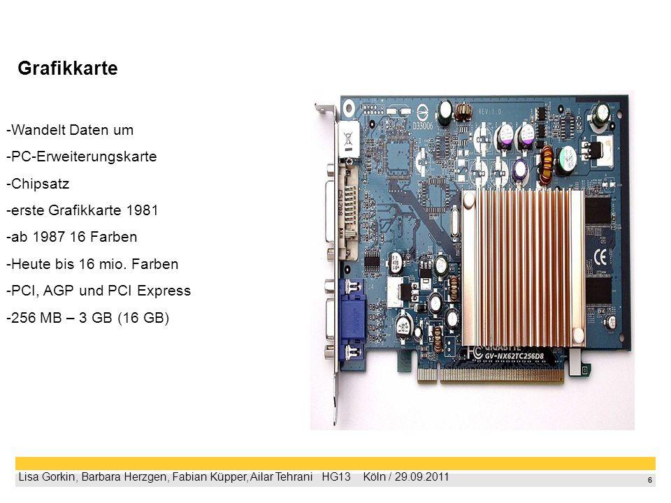 6 Lisa Gorkin, Barbara Herzgen, Fabian Küpper, Ailar Tehrani HG13 Köln / 29.09.2011 Grafikkarte -Wandelt Daten um -PC-Erweiterungskarte -Chipsatz -ers