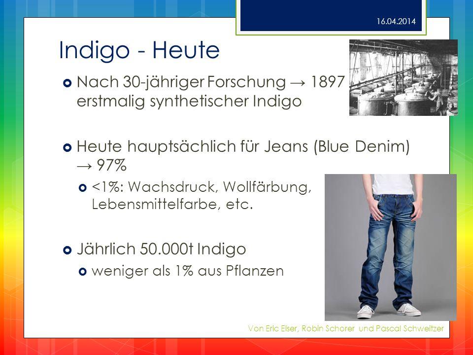 Indigo - Heute Nach 30-jähriger Forschung 1897 erstmalig synthetischer Indigo Heute hauptsächlich für Jeans (Blue Denim) 97% <1%: Wachsdruck, Wollfärb