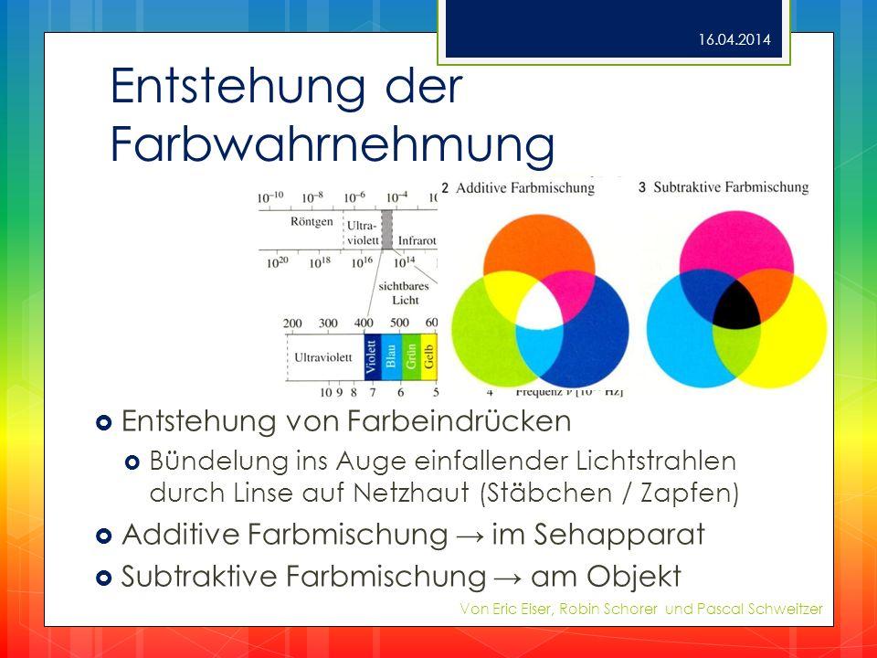 Entstehung der Farbwahrnehmung Entstehung von Farbeindrücken Bündelung ins Auge einfallender Lichtstrahlen durch Linse auf Netzhaut (Stäbchen / Zapfen