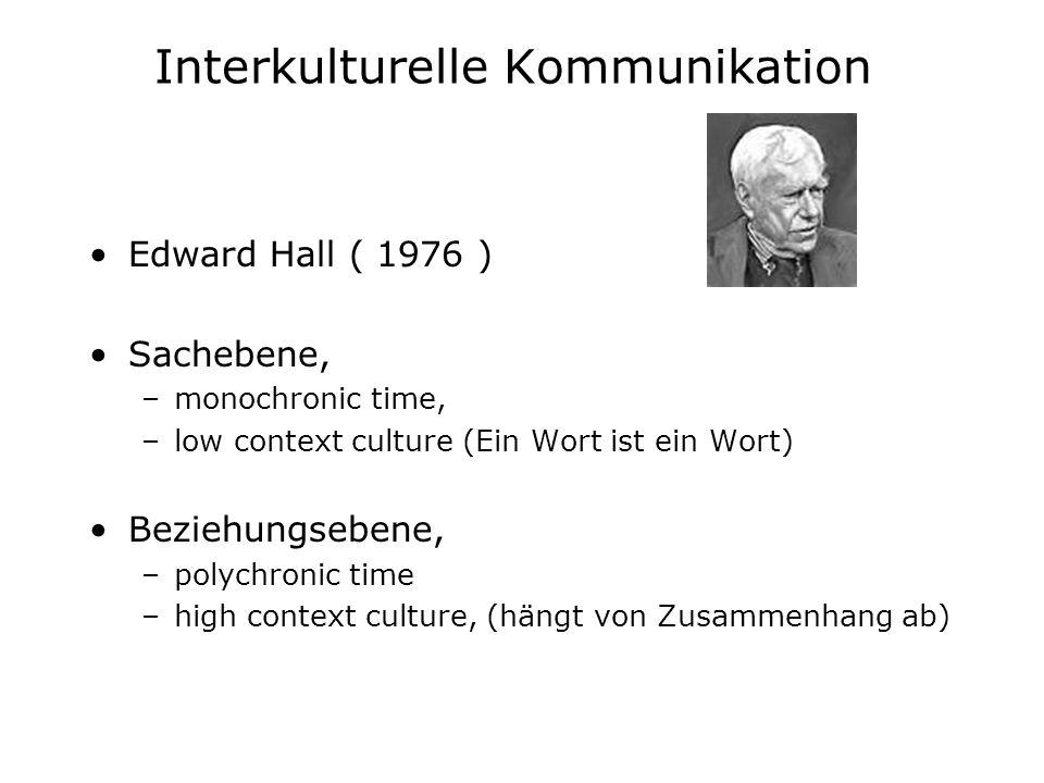 Interkulturelle Kommunikation Edward Hall ( 1976 ) Sachebene, –monochronic time, –low context culture (Ein Wort ist ein Wort) Beziehungsebene, –polych