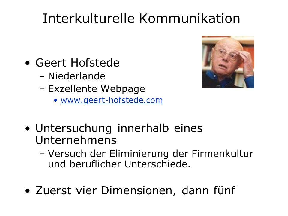 Interkulturelle Kommunikation Geert Hofstede –Niederlande –Exzellente Webpage www.geert-hofstede.com Untersuchung innerhalb eines Unternehmens –Versuc