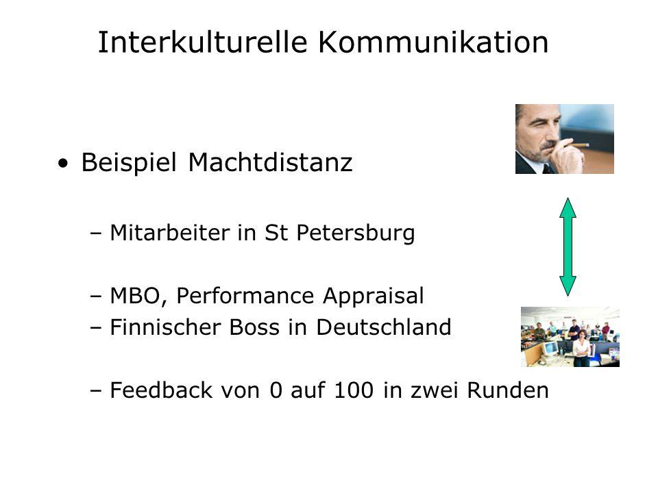 Interkulturelle Kommunikation Beispiel Machtdistanz –Mitarbeiter in St Petersburg –MBO, Performance Appraisal –Finnischer Boss in Deutschland –Feedbac