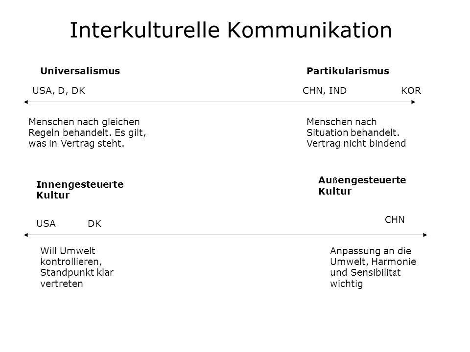 Interkulturelle Kommunikation UniversalismusPartikularismus Menschen nach gleichen Regeln behandelt. Es gilt, was in Vertrag steht. Menschen nach Situ