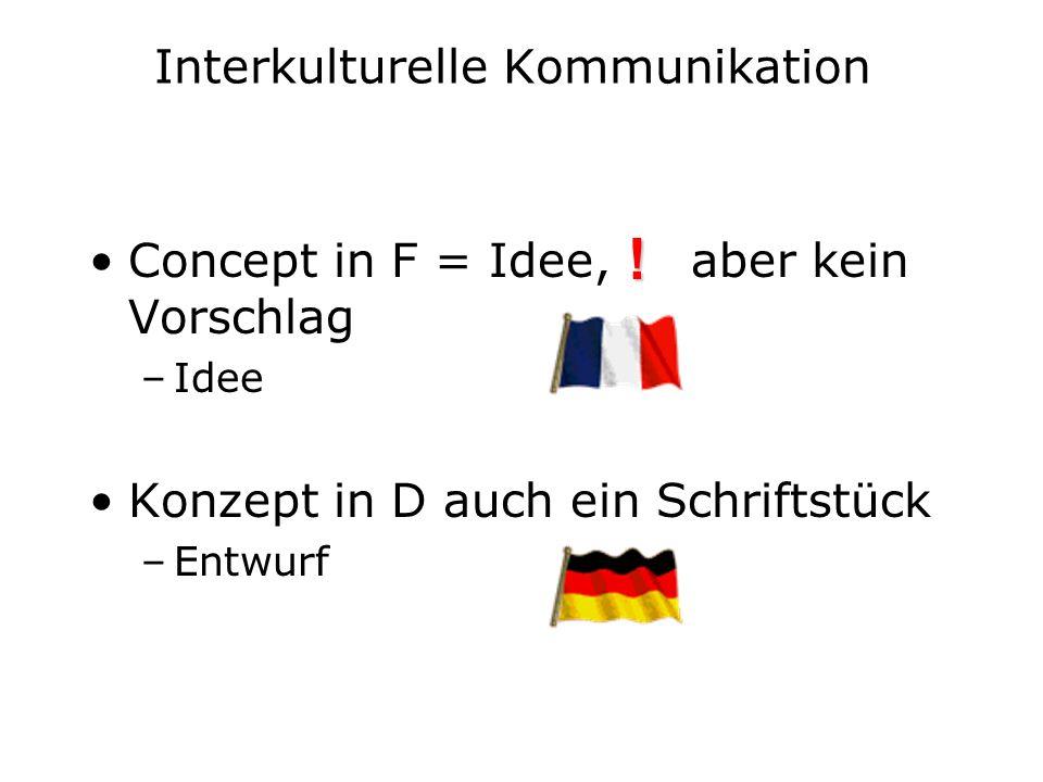 Interkulturelle Kommunikation Concept in F = Idee, aber kein Vorschlag –Idee Konzept in D auch ein Schriftstück –Entwurf !