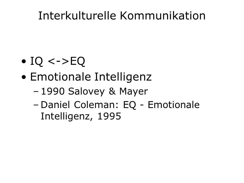 Interkulturelle Kommunikation IQ EQ Emotionale Intelligenz –1990 Salovey & Mayer –Daniel Coleman: EQ - Emotionale Intelligenz, 1995