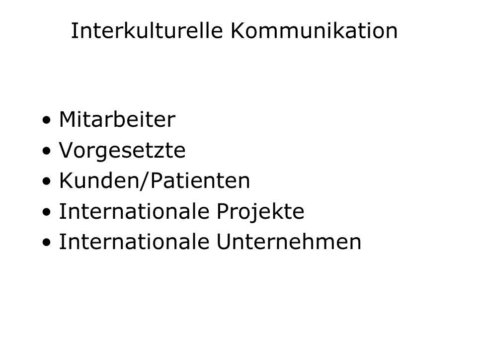 Interkulturelle Kommunikation Mitarbeiter Vorgesetzte Kunden/Patienten Internationale Projekte Internationale Unternehmen