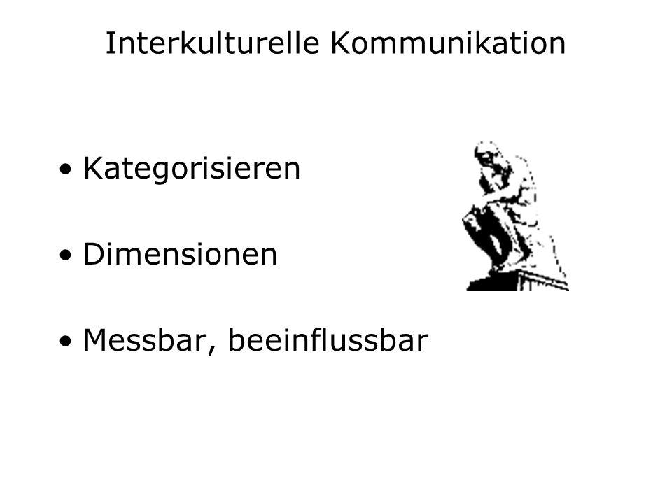 Interkulturelle Kommunikation Kategorisieren Dimensionen Messbar, beeinflussbar