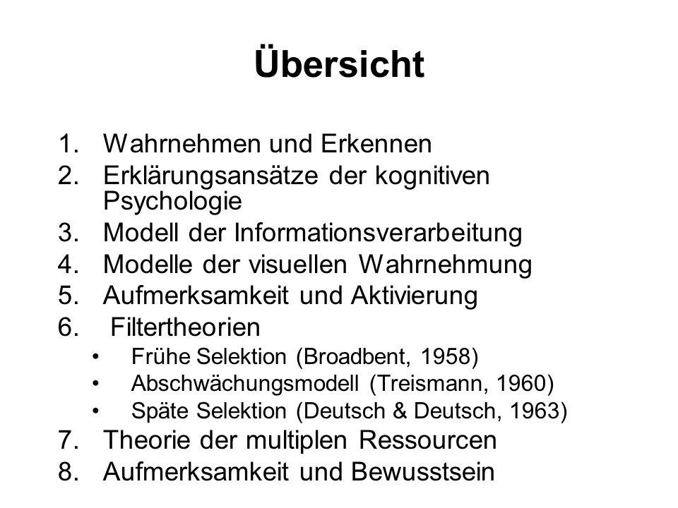 Übersicht 1.Wahrnehmen und Erkennen 2.Erklärungsansätze der kognitiven Psychologie 3.Modell der Informationsverarbeitung 4.Modelle der visuellen Wahrnehmung 5.Aufmerksamkeit und Aktivierung 6.