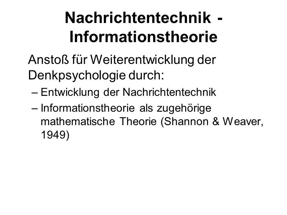 Informationsverarbeitung Informationsverarbeitendes System, das nach bestimmten Regeln funktioniert Regeln sind teils durch das informationsverar- beitende System festgelegt, teils durch die mit der jeweiligen Aufgabe verbundenen Instruktionen Vorteile: Prozesse dritter Art, da weder psychologistisch noch biologistisch Nüchterne, deskriptive Zugangsweise
