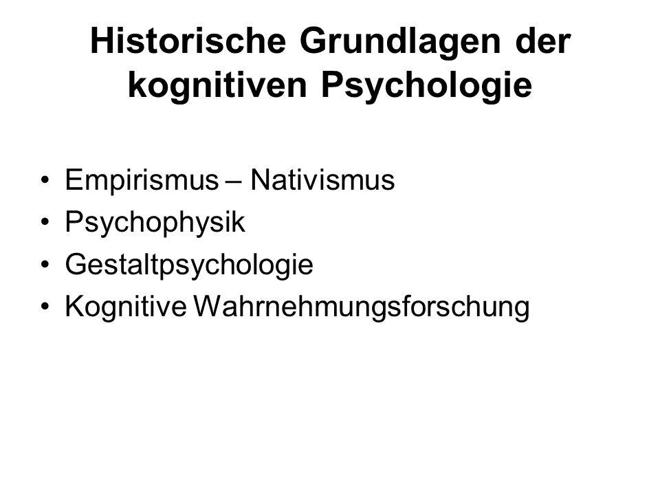 Historische Grundlagen der kognitiven Psychologie Empirismus – Nativismus Psychophysik Gestaltpsychologie Kognitive Wahrnehmungsforschung