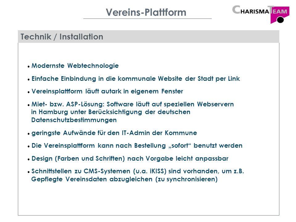 Vereins-Plattform Technik / Installation Modernste Webtechnologie Einfache Einbindung in die kommunale Website der Stadt per Link Vereinsplattform läu