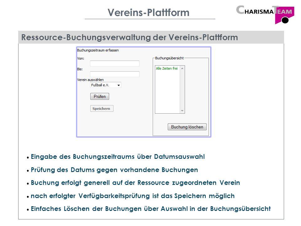 Vereins-Plattform Ressource-Buchungsverwaltung der Vereins-Plattform Eingabe des Buchungszeitraums über Datumsauswahl Prüfung des Datums gegen vorhand