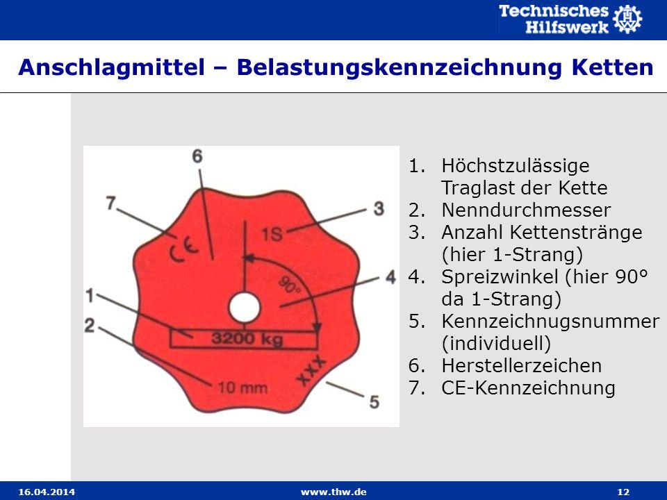 Anschlagmittel – Belastungskennzeichnung Ketten 16.04.2014www.thw.de12 1.Höchstzulässige Traglast der Kette 2.Nenndurchmesser 3.Anzahl Kettenstränge (