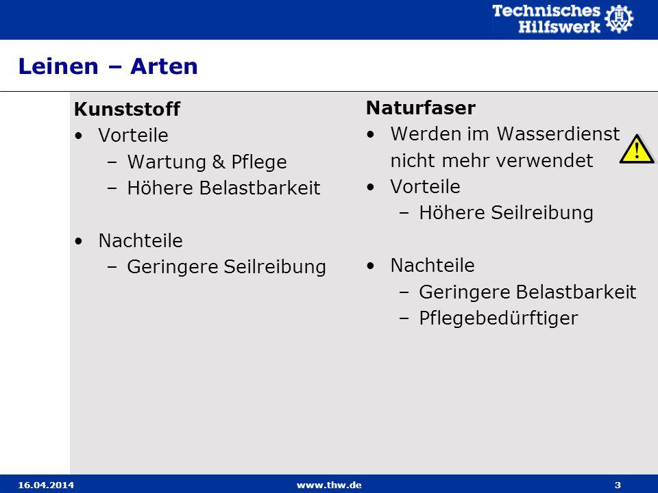 Anschlagmittel – Belastungskennzeichnung Gurte 16.04.2014www.thw.de14 Durch bedruckten Aufnäher und / oder Farbe oder Aufdruck