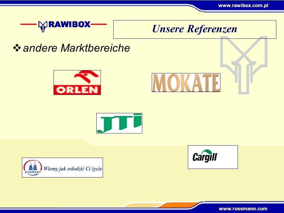 www.rawibox.com.pl www.rossmann.com andere Marktbereiche Unsere Referenzen